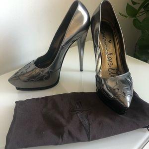 Lanvin Designer silver platform heels size 10